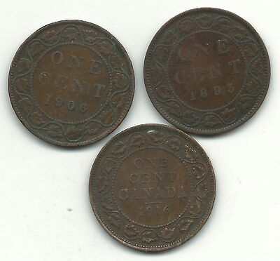 Very Nice Lot 3 Canada Large Cents-1893 (Bent),1906,1916-Oct604