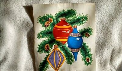 "4 ORNAMENTS ON BRANCHES   WATERSLIDE DECAL  2 3/4"" x 2 3/4"""