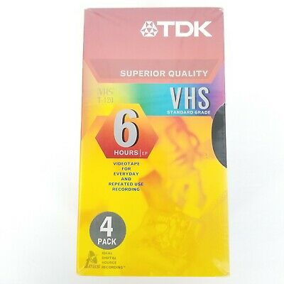 TDK T-120 4 Pack Of Superior Quality Blank VHS Video Tapes 6-Hour Capacity