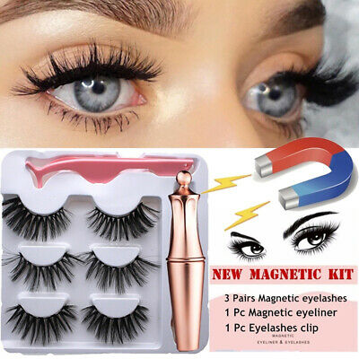 a9976345eff SKONHED 3 Pairs Magnetic Eyelashes With 1 Pc Magnetic Eyeliner and Tweezer  Set