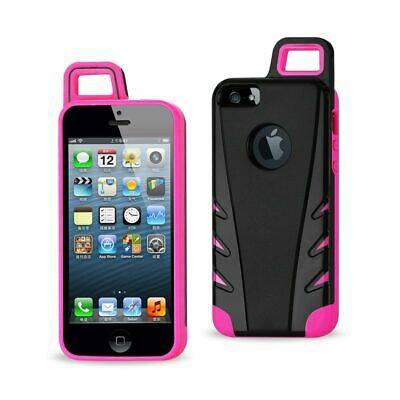Reiko Iphone 5/5S/Se Dropproof Workout Hybrid Case With Hook In Black Hot Pink