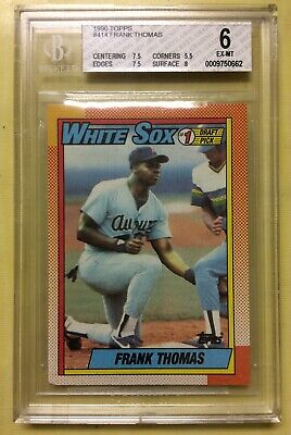 1990 Topps Frank Thomas Rookie Baseball Card #414 Graded BGS 6 EX-MT White Sox