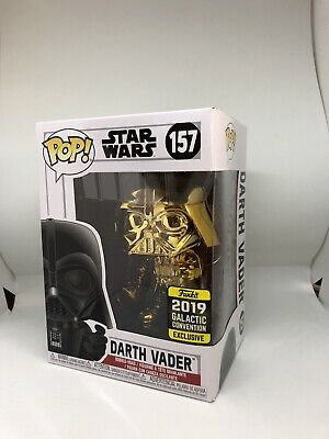Funko Pop! Star Wars Amazon Exclusive Gold Chrome Darth Vader #157 W/ Protector