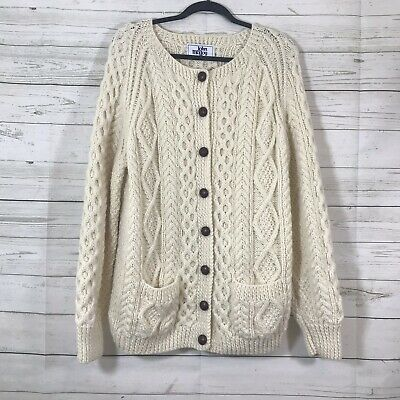 XL John Molloy Off White Cable Knit 100/% Irish Wool Cardigan