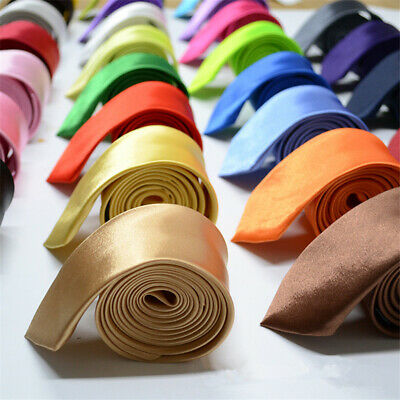Plain Satin Fashion Wedding Solid Necktie Slim Skinny 1Pcs Classic Mens Neck