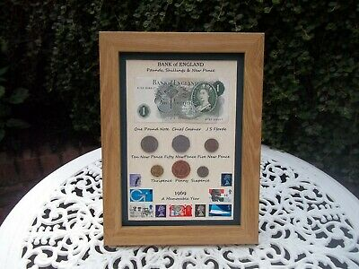 50th Birthday 1969, £1 Note, 6 Coin & Stamps Framed Set, Unique gift