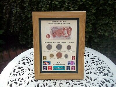 50th Birthday 1969, 10/- Note, 6 Coin & Stamps Framed Set, Unique gift