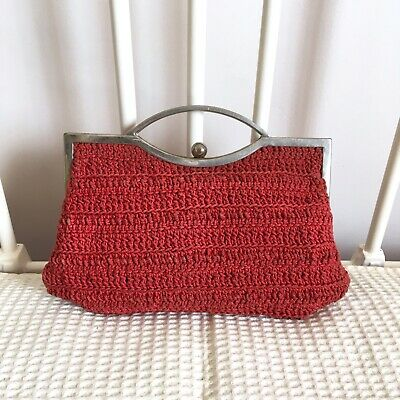 Vintage Retro Red Pouch Clutch Bag