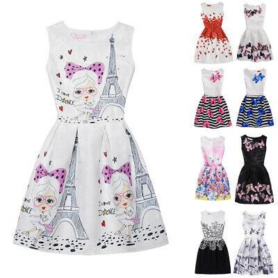 Womens Kids Girls Parent-Child Sleeveless Butterfly A-line Skater Party Dress