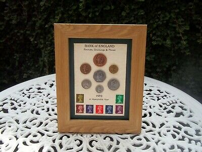 50th Birthday 1969, 7 Coin & Stamps Framed Set, Unique Gift, for 2019