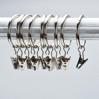 10-pack Metal Roman Ring Curtain Rings with Clips Curtain Hanging Clip Hook