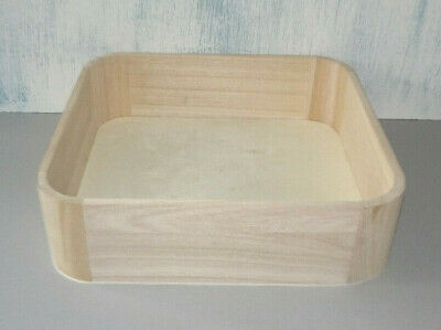 New Deep Wooden Tray 25cm square x 7cm high  Paint Stain craft decoupage