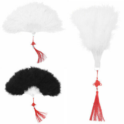 Vintage Folding Handheld Flapper Fluffy Feather Hand Fan w/Chinese Knot Pendant