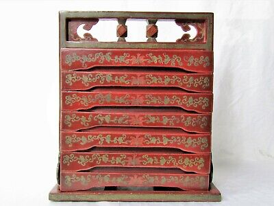 19th Century Chinese Monumental Tiered Wedding Chest Floral Dowery
