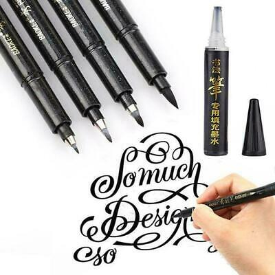 Calligraphy Pen Hand Lettering Pens Brush Black Ink Writing Art Marker Draw T6O6