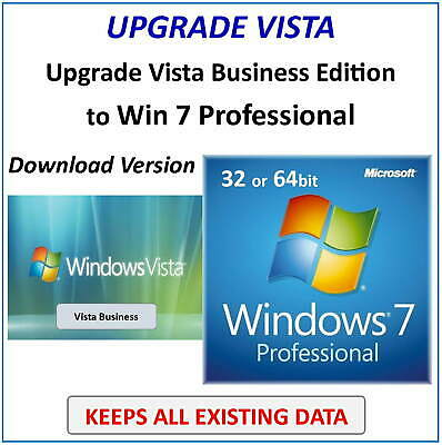 UPGRADE VISTA Business to Win 7 PRO - KEEPS ALL YOUR FILES - Download Version