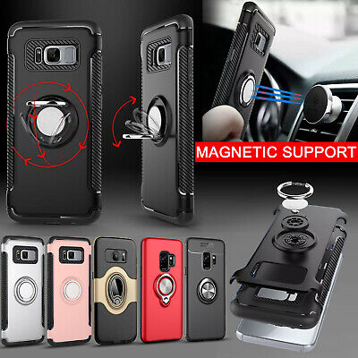 Case Cover for Samsung Galaxy J3 J5 J6 S8 S9 Plus Magnetic Car Ring Holder Stand