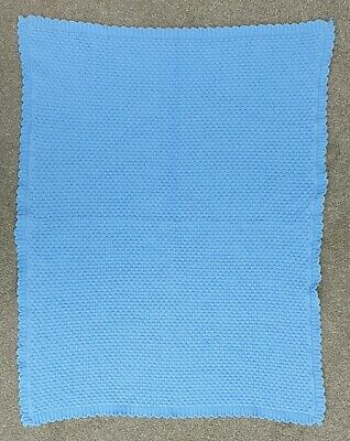 Blue Honeycomb Knitted Scalloped Edge Baby Blanket Mothercare Excellent Cond
