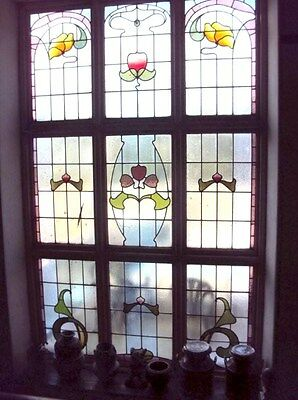 12ft 360cm H,Arts&Crafts,ART NOUVEAU 9 Reclaimed Stained Leaded Glass Windows