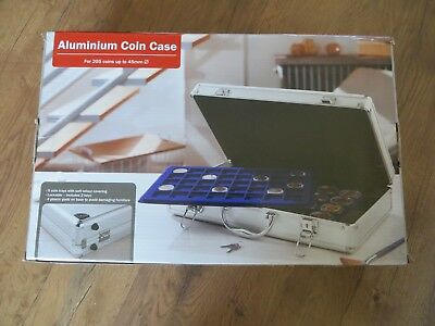 Aluminium Case for Coin Collection - Holds 250 coins 5 Trays - Lockable With Key