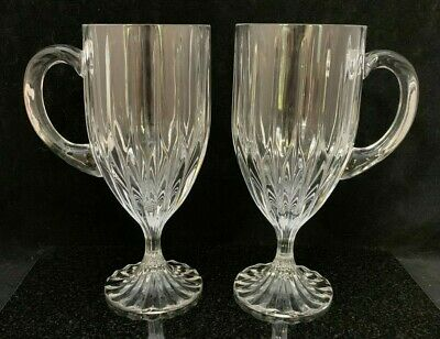 2 Mikasa Crystal Park Lane Footed Irish Coffee Mugs Cups