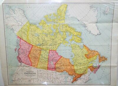 Large Vintage 1954 Fold Out Mines & Technical Surveys Canada Wall Map