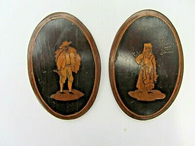 Pair Small Antique Sorrento Italian Inlaid Wooden Marquetry Oval Panels c.1880