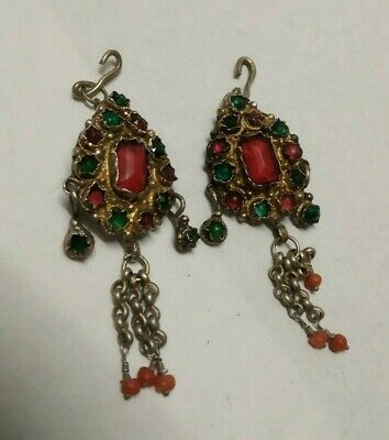 Antique 19Th Ottoman Albanian Ornaments Silver Gilt With Hanging Corals