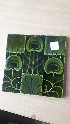 Original Corn Bros Lewis Day Majolica Art Nouveau 6 Inch Tile Vintage   Antique