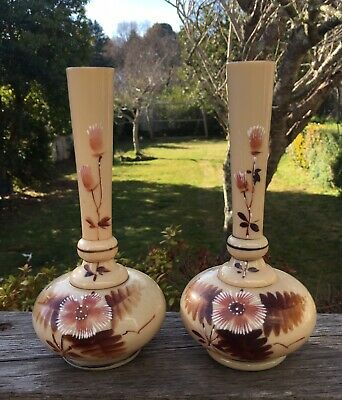 Pair Of Lovely Antique Victorian Milk Glass Vases Hand Painted 17cm Cream
