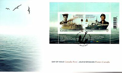 2010 #2384 Canadian Navy Centennial S/S FDC with CP cachet