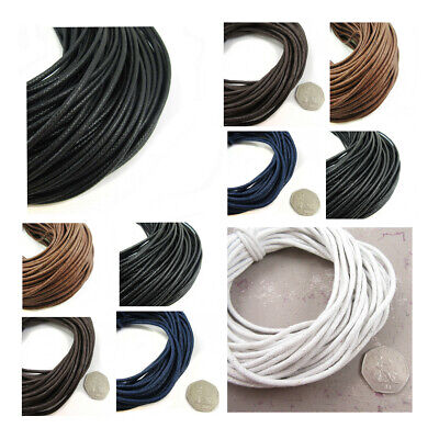 3mm / 3.2mm BLACK / BROWN WAXED COTTON CORD : JEWELLERY MAKING STRINGING