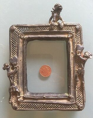 Antique Early 20th Century Bronze Frame Photo? Indian With Monkey And Mens 230g