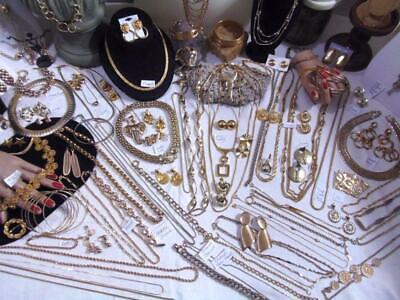 Vintage GOLDTONE Jewelry Lot 1o6Pc Necklace Earring Pin Coventry Monet JJ Lisner