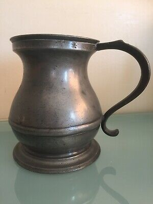 "Antique 19th Century Pewter Quart Tankard Error Marked 9"" Height"
