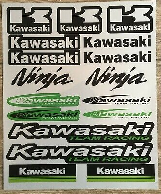 17 Kawasaki Stickers Decals Vinyl Road Bike Ninja Motorbike Racing Helmet Wheel