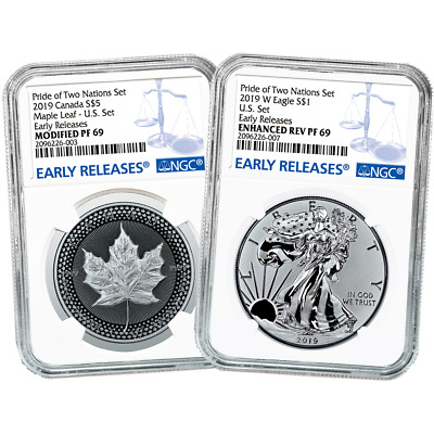 2019 Pride of Two Nations 2pc. Set U.S. Set NGC PF69 Blue ER Label