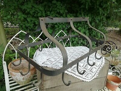Large Domed Dutch Wrought Iron 16 Hook Saucepan Pot Hanger Kitchen Storage
