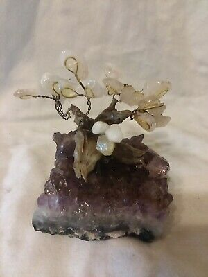 Citrine &amp Amethyst Geode Crystal Cluster Wire Tree Life Art Twin Spirit Other