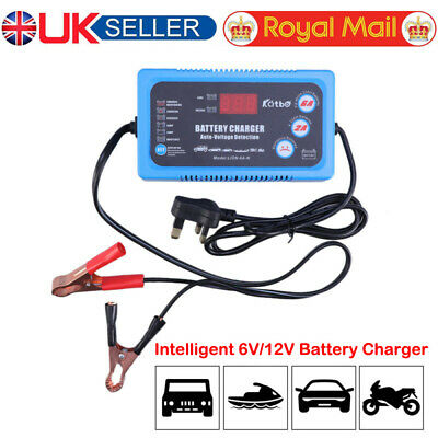 6V/12V Digital Smart Battery Trickle Charger For Auto Car Motorcycle Travel UK