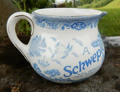 Schweplet Schweppes Whisky advertising willlow pattern whisky water jug