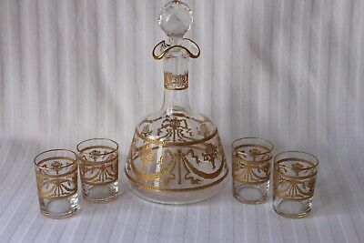 Antique St Louis crystal gold engraved decanter and glasses end 19th century