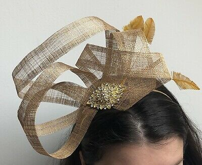 Gold Sinamay Feather Hair Band Fascinator Headband Races Cocktail Diamante 5097