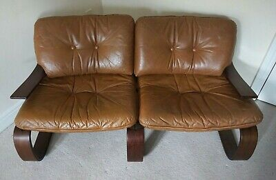 Bentwood 2 Seat Sofa Leather Mid Century 60/70s Rosewood Danish