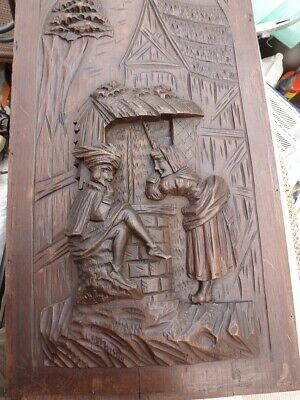 Superb antique (1800's) FRENCH HAND CARVED OAK PANEL of a courting couple