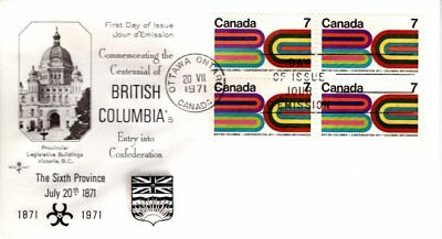 1971 #552 British Columbia Centennial FDC with Rose Craft cachet unaddressed