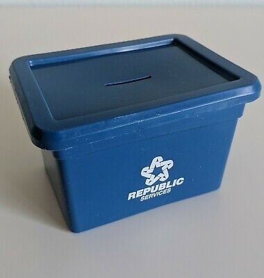Vintage Miniature Republic Services Trash Can Coin Bank Lid Blue Canister Box