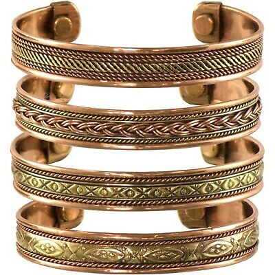 Set of 4 Tibetan Copper Bracelets Magnetic India Pattern Women's Men's Spirit...