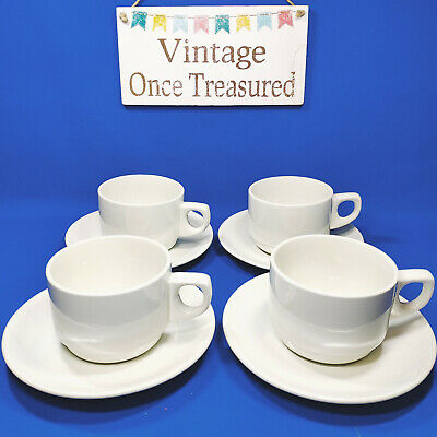 Wood & Sons - 4 x White Tea or Coffee Cups & Saucers - Vintage VGC a