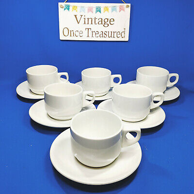 Wood & Sons - 6 x White Tea or Coffee Cups & Saucers - Vintage VGC a
